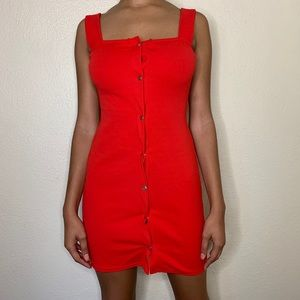 Red buttoned dress